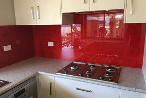 Splashback red - kitchen renovations - feature